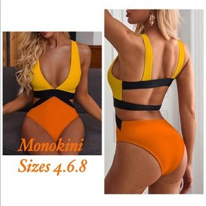 Other - NWT M (4-6) orange yellow white monokini swimsuit